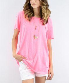Neon Pink Boyfriend Tunic #zulily #zulilyfinds