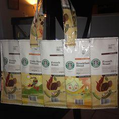 Starbucks coffee bags upcycled into tote bag.