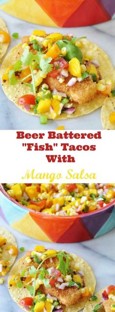 """Beer Battered """"Fish"""" Tacos with Mango Salsa! This vegan taco recipe is made with tofu, but you'd never know it when you bite into the crunchy """"fish"""" pieces. This is a favorite with my non-vegan friends! www.veganosity.com"""