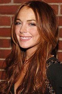 lindsay lohan long layered red hair