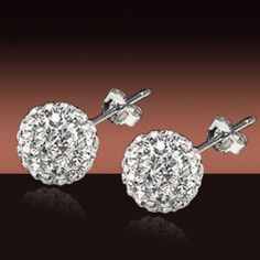 Wholesale Pair of Sweet Rhinestone Ball Shape Earrings For Women (WHITE), Earrings - Rosewholesale.com $4