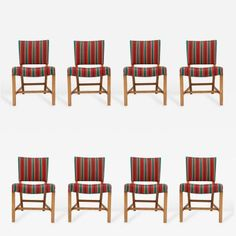 Kaare Klint - Set of Eight Kaare Klint Dining Chairs offered by Denmark 50 on InCollect Scandinavian Modern, Mid-century Modern, Dining Chairs, Mid Century, Wood, Furniture, Design, Home Decor, Dinner Chairs