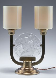 Edmond Etling, Paris. Art Deco table light, c1925. H. 34.5 cm. Moulded glass pane, reliefed pattern with nude woman and doves. Brass mounting, two glass shades, clear, white and amber. Pane marked: ETLING-FRANCE.