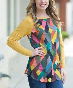 Love this Mustard Geometric Contrast-Sleeve Tunic on #zulily! #zulilyfinds