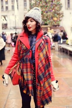"""City sidewalks, busy sidewalks. Topshop hat J.Crew """"Majesty"""" peacoat (30% off with GIFTNOW) Robert Rodriguez plaid blouse (c/o) Corey high waisted shorts Coach bag (old) Zara scarf (old, but this one is very similar) old panda mittens UGG Australia Savoie boots (c/o)"""