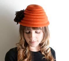 Vintage Beehive Hat  Tangerine Wool