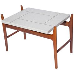 Harvey Probber Teak Table with Brass Inlaid Terrazzo Top | See more antique and modern End Tables at https://www.1stdibs.com/furniture/tables/end-tables