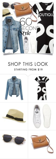 """""""T Shirt Dress + Denim Jacket"""" by arethaman ❤ liked on Polyvore featuring LE3NO, Boutique Moschino, John Varvatos, Converse, Christian Dior, Fedora, DenimDress, tshirtdresses and 60secondstyle"""