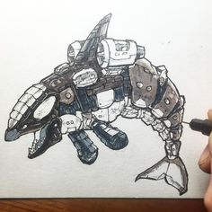 A KW-7 Mark IV long range mini submersible. Highly skilled swimmers these bots can out run and out gun most shark-bots.  1. Drawn with touch liners and touch markers on Bristol.  2. Also it's #marchofrobots and  @saltlakecomiccon #fanX coming up. Bonus!  3. If you would like me to draw you a bot or if you see one you like DM me.  Happy March of Robots friends!  #Pentel #brushpen #utahartist #touchmarkers #sketchoftheday #art #drawinkrender #drawingoftheday #killerwhales #wildlifeart #orca…
