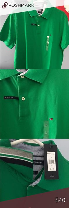 NWT Tommy Hilfiger Men Polo Shirt Green M slim fit New with tag Tommy Hilfiger Men's Stretch Slim Fit Polo Shirt   100% Authentic Guarantee!  Color: Emerson Green Size: Medium %97 Cotton %3 Elastane Madhone washable Pet/ Smoke Free Home! Thank you for your interest Tommy Hilfiger Shirts Polos