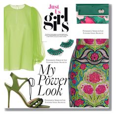 """My Power Look"" by drigomes ❤ liked on Polyvore featuring Delpozo, Gucci, Manolo Blahnik, Hueb and Balenciaga"