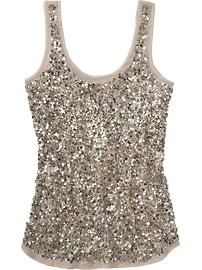 Women's Sequined Chiffon Tanks    FYI - Saw this same style @ Cato's for 17.99 in Eggplant with matching cardigans