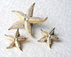WEISS Rhinestone Starfish Brooch Clip Earrings Set Demi Parure Beach Bride Gold Wedding #shopifypicks