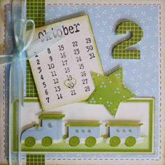 Kaart met treintje. Leuk met die stempel van een kalender erop!