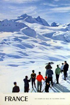 Val d'Isere, 1960s - original vintage poster by Carabin listed on AntikBar.co.uk. Vintage ski.