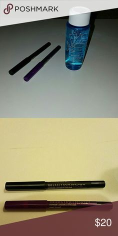 Lancome eye make-up remover, liqui pencils NEW Never used.   1)Bi-Facil double- action eye make up remover. 1.7fl oz 2) Drama Liqui-Pencil Ampoule 0.028 oz. 3) Drama Liqui-Pencil Noir Intense 0.028oz. Lancome Makeup