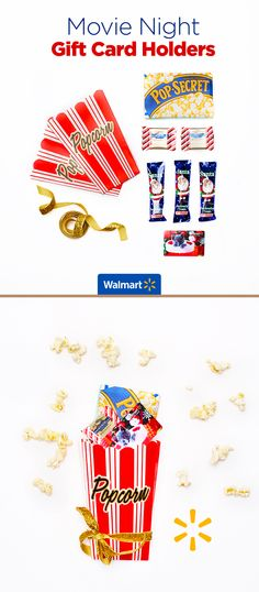 Movie Night Gift Card Holders   Walmart - Surprise your favorite movie buff with a gift card in a theater-treats card holder. See this and other cute gift card presentation ideas at Walmart.