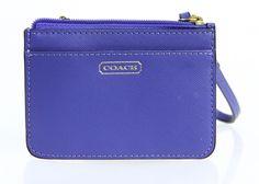 Coach Blue Saffiano Leather Coni Pouch Wristlet Id Wallet #Coach #IDWallet