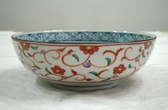 VINTAGE-PORCELAIN-RED-FLOWERS-AND-GREEN-LEAVES-FOOTED-BOWL