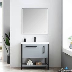 Blossom Vanity ✅ 36 Inch Freestanding Bathroom Cabinet ➤➤➤ Color Metal Gey, Soft Closing 2 Drawers ⚡ Wide Selection Vanities in Store Modern Bathroom Sink, Single Bathroom Vanity, Vanity Sink, Bath Vanities, Modern Bathrooms, Bathroom Renos, Design Bathroom, Bathroom Interior, Bathroom Ideas