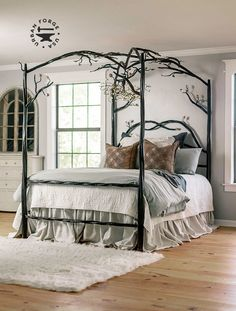 Elm Springs Wrought Iron Canopy Bed - Twisted and textured timbers, free-flowing branches, and hand forged leaves make this stunning work - Iron Canopy Bed, Canopy Bed Frame, Canopy Bedroom, Master Bedroom, Master Suite, Canopy Beds, 4 Poster Bed Canopy, Queen Canopy Bed, Wood Canopy