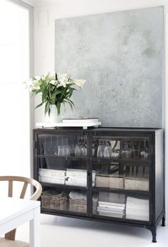 Something like this under window of eating area, to act as china/display cabinet