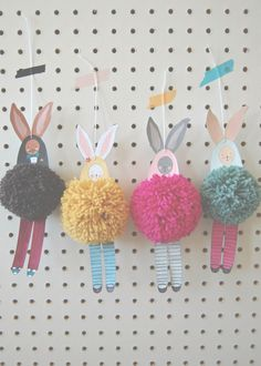 Bunnies...these take some imagination! (and pompoms are such fun to make)  ~ Springtime craft, for kids