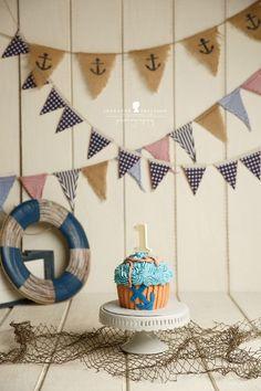 Nautical giant cupcake boy anchor M & J are One – Petaluma Cake smash photographer » Jeneanne Ericsson Photography
