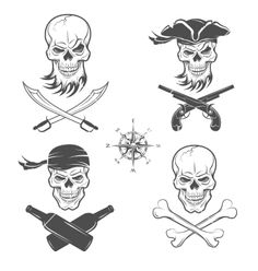 Emblems of skulls on the pirate theme vector by MaksTRV on VectorStock®