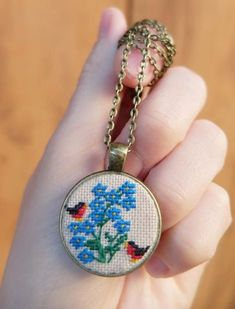 Forget-me-not pendant, Embroidered birdie, Bullfinch necklace, Bird jewelry, Forget me not cross stitch, Gift for girlfriend, Flower present