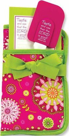 Scripture Pot Holder Three-In-One Potholder Gift Set - Pink/Green