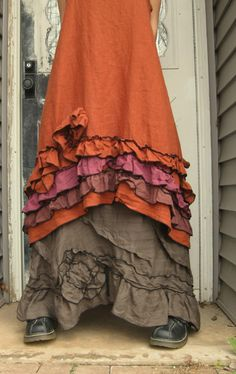 Rust Linen Ruffle and Swirl Dress L by sarahclemensclothing, $149.00