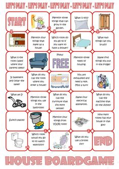 House Board Game worksheet - Free ESL printable worksheets made by teachers The Effective Pictures We Offer You About Board Games box A quality picture can tell you many things. You can find the most Esl Speaking Activities, Speaking Games, English Activities, Teaching Activities, Listening Activities, Spelling Activities, English Games, English Tips, English Class