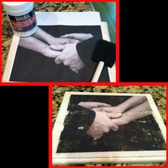 "Picture transfer to wood. anniversary gift to my husband. Him holding my hands as he read his vows to me. Medium gel, print out, wood plaque and brush. Spread medium gel on wood, press pic print out face down over gel and wait till dry. Take wet paper towel and gently rub the paper off and voila! Can also use mid podge to seal it. Made by Taryn Mackey from ""Country at Heart"""