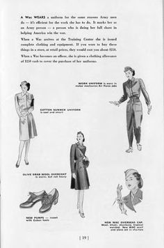 What the Wacs wear: the good soldier dresses the part | A Book Of Facts About the WAC at archive.org
