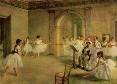 Edgar Degas - La salle de ballet de l'Opéra, rue Pelletier  대기실에서 무용수들의 자연스러운 모습을 담아냈다. 어느 누군가를 주인공으로 설정해 놓지 않고 무용수들의 모습을 크게 포착한 모습이 인상 깊다.