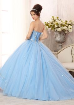 Quinceanera Dress From Vizcaya By Mori Lee Style 88088 Embroidered And Beaded Bodice On A Tulle Ball Gown Skirt With Sweep Train