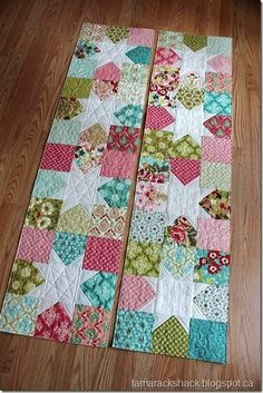Quited table runners made with charm packs.