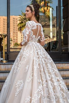 crystal design 2017 bridal long sleeves deep plunging v neck full embellishment bodice princess sexy ball gown a  line wedding dress keyhole back monarch train (chantale) zbv
