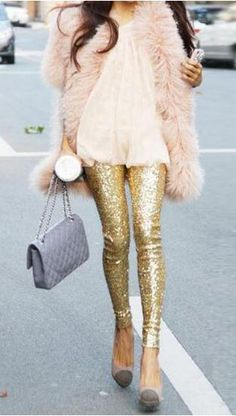 Gold Sequined Leggings