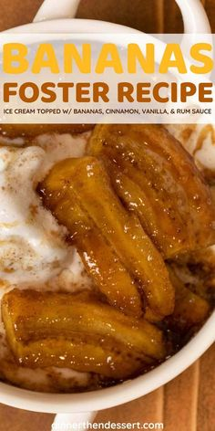Bananas Foster is a traditional New Orleans dish, ice cream topped with sliced bananas, and a cinnamon-vanilla rum sauce. #dessert #bananas #bananasfoster #rumsauce #dinnerthendessert