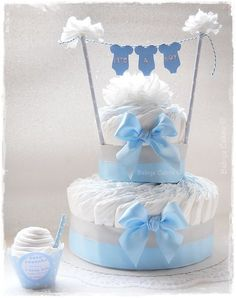 Gâteau de couches Babys Cakes - It& a boy diaper cake .- Gâteau de couches Babys Cakes – Es ist ein Junge Windelkuchen – Gâteau de couches Babys Cakes – It& a boy diaper cake – - Baby Cakes, Baby Shower Cakes, Deco Baby Shower, Diy Shower, Baby Shower Diapers, Baby Boy Shower, Baby Shower Gifts, Baby Gifts, Shower Ideas
