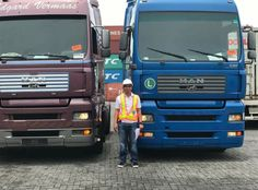 Show your truck! Edgar Allan Gino sent us this picture of himself with two MAN trucks he recently bought at Kleyn