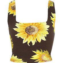 River Island Womens Black Sunflower Print Square Neck Crop Top