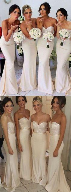 2016 bridesmaid dress, mermaid bridesmaid dress, long bridesmaid dress, strapless bridesmaid dress, wedding party dresses, wedding dresses, ivory wedding dresses