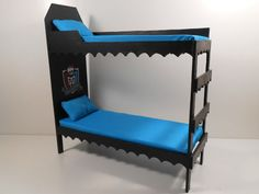 Monster High Furniture Miniature 1 6 Scale Playscale Dorm Bunk Bed Blue | eBay