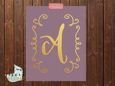 Lavender And Gold Foil Monogram Print  Letter by ElmStStudioPrints