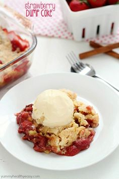 """Strawberry Dump Cake has only a few ingredients and is easily layered aka """"dumped"""" in a cake pan and baked. No stirring and no mixing bowl required!! Top with a scoop of ice cream, and you have yourself just about the best dessert ever invented. :)"""