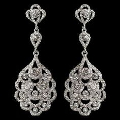 Silver Rhodium Vintage 1920's Inspired Wedding Earrings, style E8685.