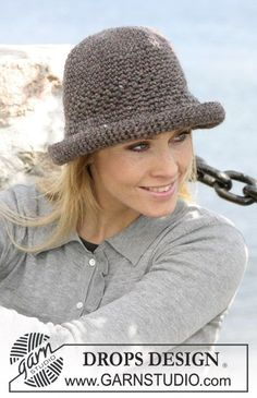 "Sombrero DROPS en ganchillo (crochet) con ""Eskimo"". ~ DROPS Design"